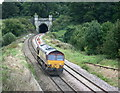 ST7165 : 2008 : EWS tractor approaching Twerton tunnel by Maurice Pullin