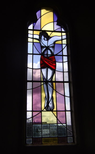 Crucifixion window, St Peter's, Casnewydd Bach/Little Newcastle