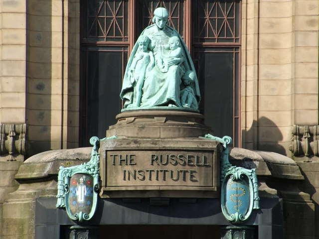 Above the entrance of the Russell Institute