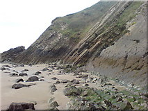 SM8422 : Rock strata on north Newgale beach by Deborah Tilley