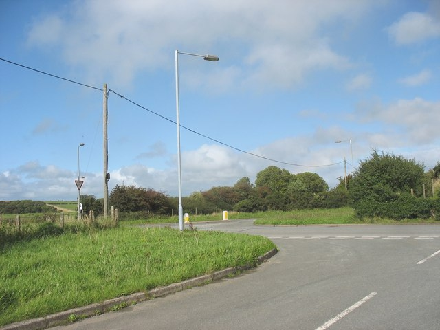 Complex road junction east of Carfan
