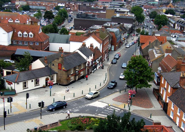 Rayleigh High Street viewed from Holy Trinity Church Tower