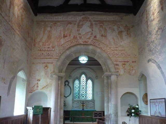 Clayton church interior showing a section of the early medieval wall paintings by pam fray