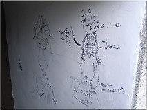 HU4039 : Graffiti behind the Scalloway Museum by Nick Mutton