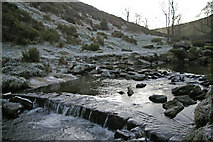 SD9628 : Weir on Colden water at Hebble Hole by Phil Champion