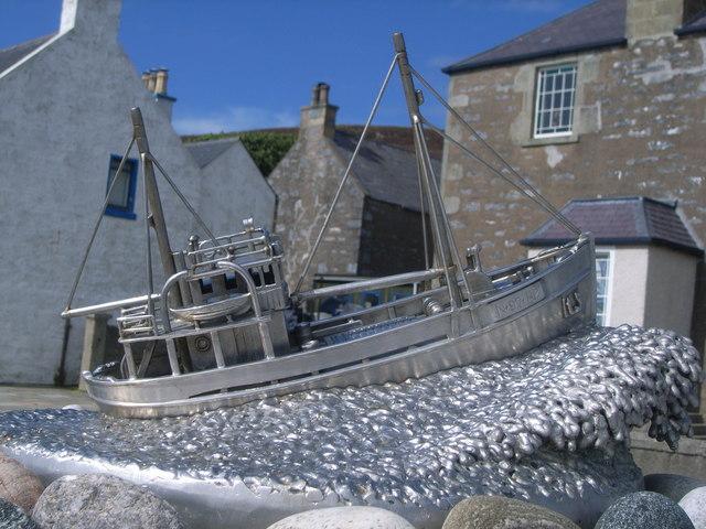 Shetland Bus memorial - closeup of boat