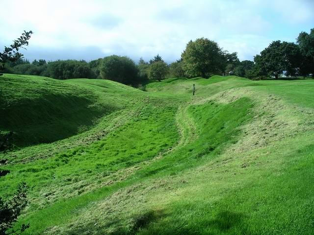The outer moat,  Caerlaverock castle