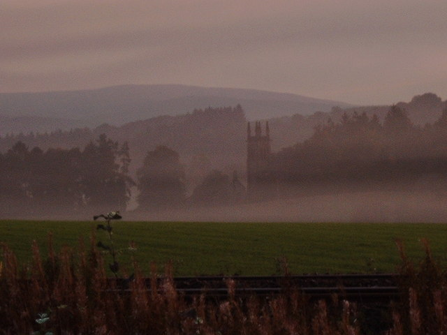 View of Closeburn Church in the dawn mist