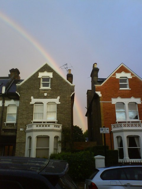 44 and 42 Hendham Road, Wandsworth Common, and rainbow