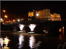 SK7954 : Town Bridge and Castle at night by Neville Davey