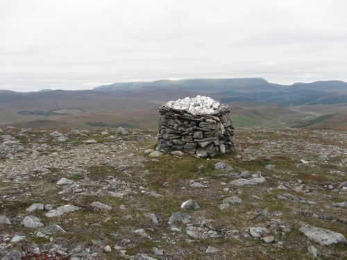 The summit cairn of Meall Coiree nan Laogh