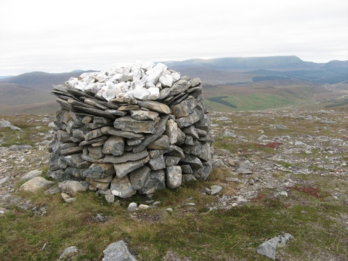 The summit cairn of Meall Coire nan Laogh