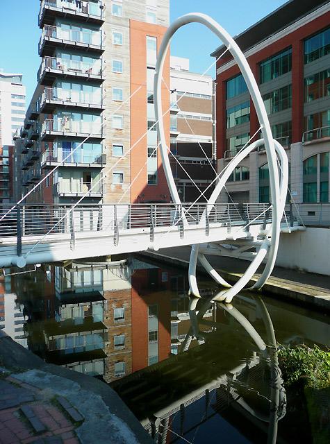 Contemporary footbridge over  the canal, Birmingham