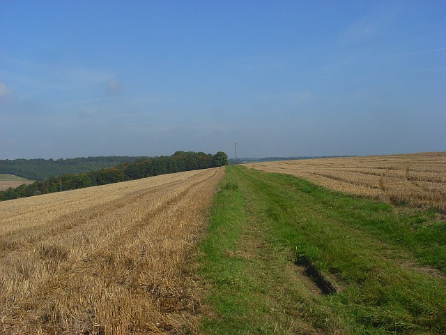 Footpath through fields of stubble