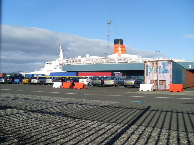 The QE2 beyond Greenock Container Terminal