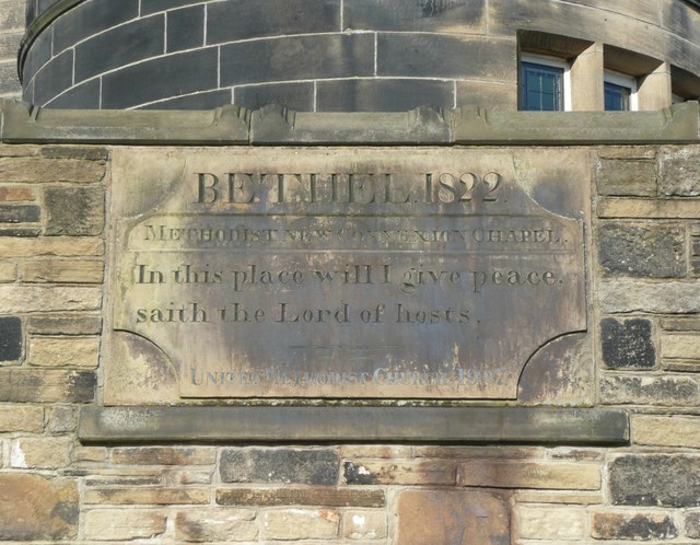 Plaque from old Methodist Chapel, Boulder Clough, Sowerby